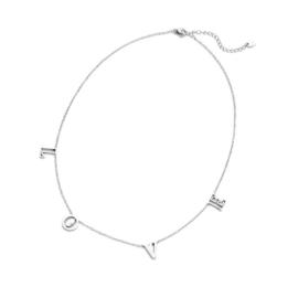 RVS (stainless steel) ketting. Met letters L O V E.  Zilverkleurig.