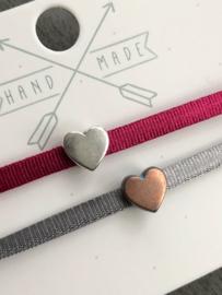 Ibiza Boho stretch  armband. SET van 2. Met hart schuivertje.