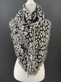 Lichtgewicht panter sjaal. 3-hoek vorm. 2 kanten draagbaar. Zwart - Wit