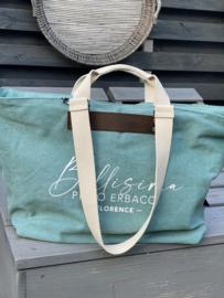 Super grote canvas shopper / strandtas  Bellisima. (Mint) groen