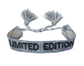 Textiel vriendschap armband. LIMITED EDITION. Jeans blauw.