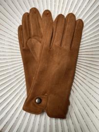 Handschoenen, stretch suedine.  Cognac bruin. .
