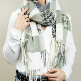 Langwerpige super soft sjaal. Blok/Pierre de pu  print. Groen combi
