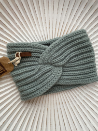 Knit Factory, gebreide haarband. Stone green