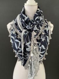 Navy-lichtblauw blaadjes / mini tulpen print, couture sjaal.