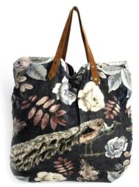 Mooie fluwelen XL shopper van Imbarro.  Pauw / bloem print.  Grijs-blauw