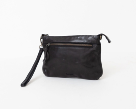 "Bag 2 Bag clutch / tasje, ""Levisa.""  écht leer. Limited Edition. Zwart"