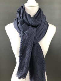 Grote langwerpige sjaal. Relief. Navy blauw