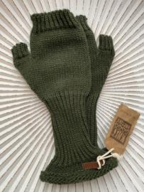 Knit Factory, gebreide handwarmers / wanten zonder vingers. Khaki (Army green)