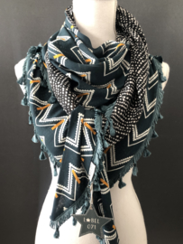Petrol blauw zij zag patroon - zwarte stip. Couture sjaal.