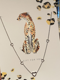 """Stainless steel ketting hartjes op kaart """"A gift for you"""". Zilver"""