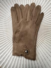 Handschoenen, stretch suedine.  Camel / beige.