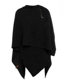 Super grote omslagdoek van het mooie merk Knit Factory. Zwart.