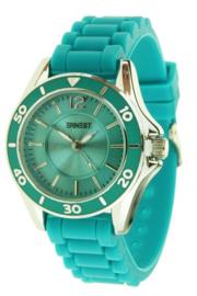Horloge Ernest, rubber band. kleine kast. Smaragd Groen
