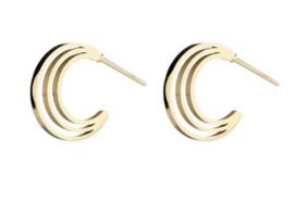 Kleine half open creolen, 3 laagjes boven elkaar. RVS (stainless steel) oorbellen. Goudkleurig.