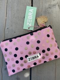 Meisjes (school) etui  / toilettasje van het merk Zebra. Roze met glitter stippen.