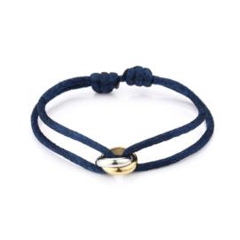 Satijn armbandje met bi-colour RVS (stainless steel) ringen. Navy