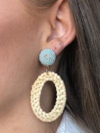 Super grote oorbellen, Zeegroen/blauw met naturel rotan