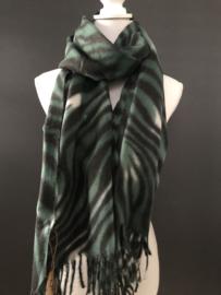 Langwerpige super soft sjaal . Zebra dessin. Zwart-Groen.