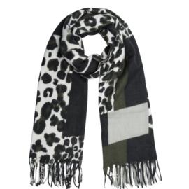 Langwerpige super soft sjaal . Zwart - groen Luipaard  / blokken patroon.