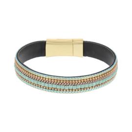 BIBA armband van Pu met kraaltjes. Breed model.  Groen-goud combi. Goudkleurige sluiting