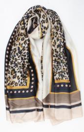 Mooie grote dunne langwerpige sjaal met zijde. Luipaard. Beige-okergeel-zwart.
