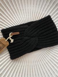Knit Factory, gebreide haarband. Zwart