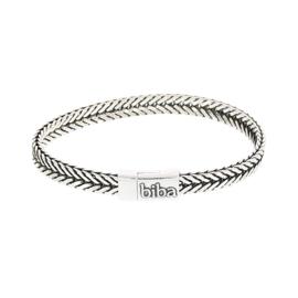 Biba armband, silver plated metaal. Buddha look. Model breed dubbellaags, zilver-zwart.