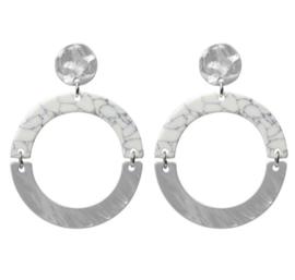 """Biba oorbellen. 2 delige """"cirkel"""". Zilver - creme/grijs marmer"""