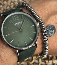 Horloge Ernest,  stijlvol. Suedine achtige band. Donkergroen  - zilver.