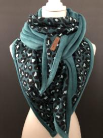 Super grote, zachte 3-hoek sjaal. Panter. Volwassen maat. Petrol blauw
