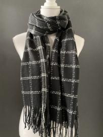 Langwerpige zachte sjaal. Grote ruit. Zwart-wit.