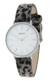 Horloge Hairy Leopard print  band. Medium maat. Grijs  -  zilverkleurig.