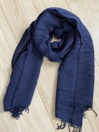 Lange soft sjaal Plissé ribbel. Blauw