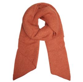 Langwerpige  super soft sjaal met schuine uiteinden. Terra / warm oranje