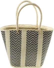 Strandtas - mand / kleine shopper. Hoog model. Mars & More. Naturel - zwart.