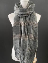 Langwerpige super soft sjaal. Klassiek ruit patroon. antraciet / grijs tinten.