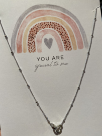 "Stainless steel ketting hartjes in elkaar, op kaart ""You are special to me"". Zilver"