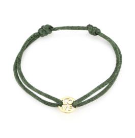 """Satijn armbandje met RVS (stainless steel) """"LOVE"""". Groen - Goud"""