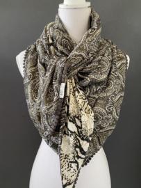 Army green - olijf met zwart paisley dessin / snake print, couture sjaal.