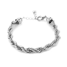 RVS (stainless steel) armband, grove gedraaide schakel. Zilverkleurig.