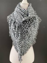 Lichtgewicht cheetah sjaal. 3-hoek vorm. 2 kanten draagbaar. Blauw