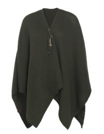 Super grote omslagdoek van het mooie merk Knit Factory.  Khaki (donker groen)
