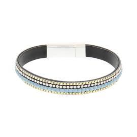 BIBA armband van Pu met kraaltjes. Lichtblauw-goud combi. Zilverkleurige sluiting