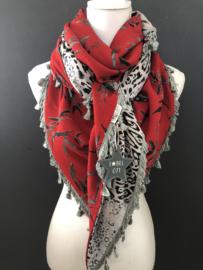 Warm donkerrood blaadjes patroon / Grijs panterdessin,  couture sjaal.