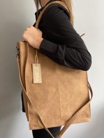 Kartel bag - tas XXL van ZEBRA. Gevoerd + laptop vak. Suède touch, Camel bruin