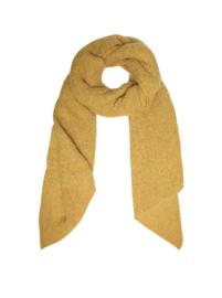 Langwerpige  super soft sjaal met schuine uiteinden. Oker geel