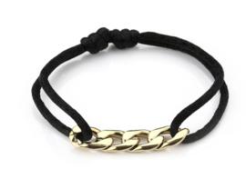 Satijn armbandje met RVS (stainless steel) schakels. Zwart / goud