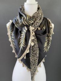 Navy - army green - beige grote blad print  / mini bloemetje,  couture sjaal.