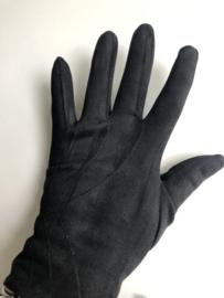 Handschoenen, stretch suedine.  Zwart